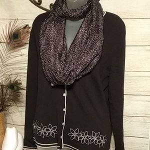 J.jill black and white infinity scarf